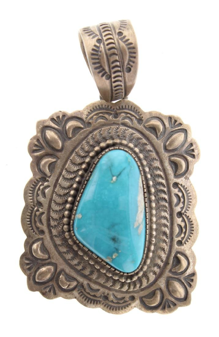 Sterling Silver Genuine Turquoise Vintage Pendant