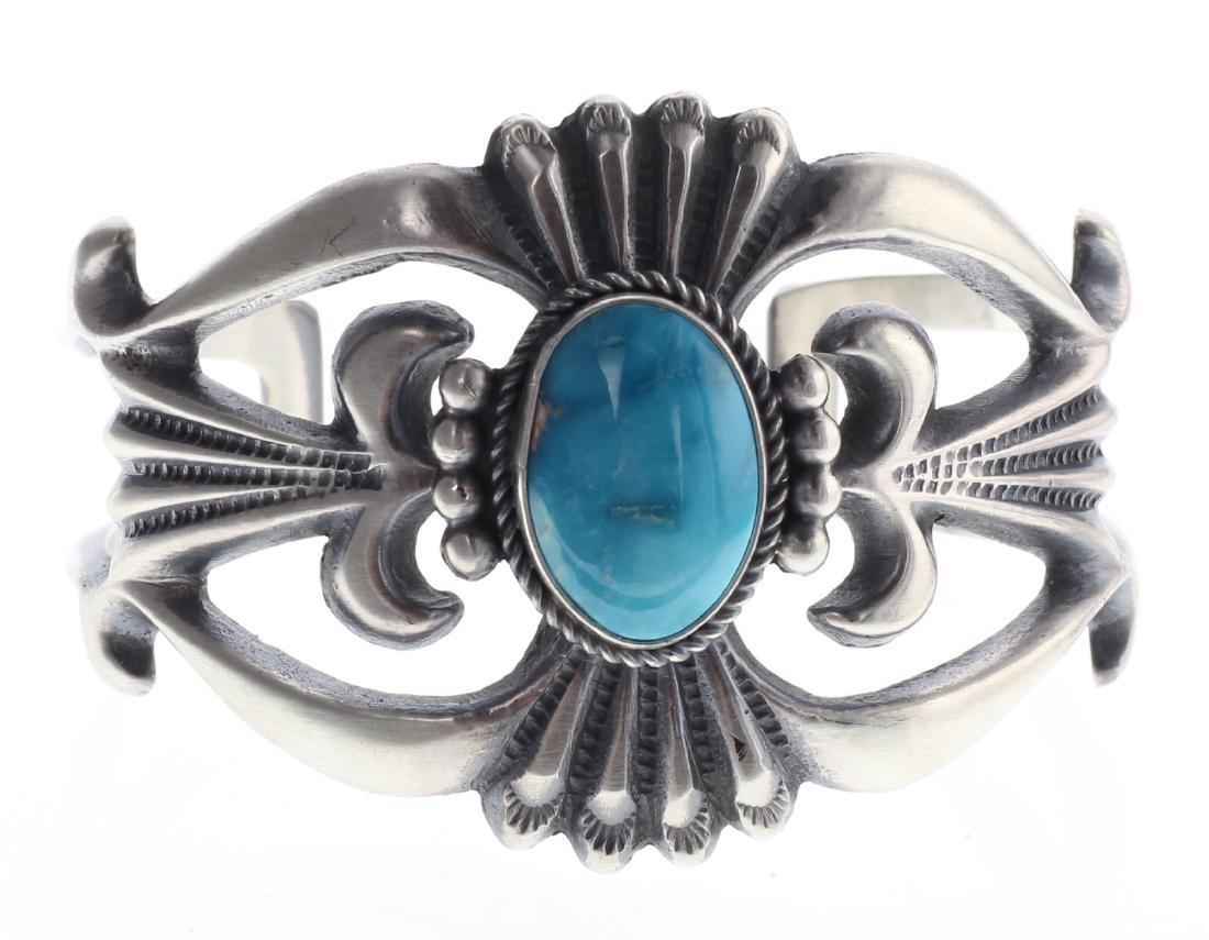 Sterling Silver Genuine Turquoise Sand Cast Bracelet