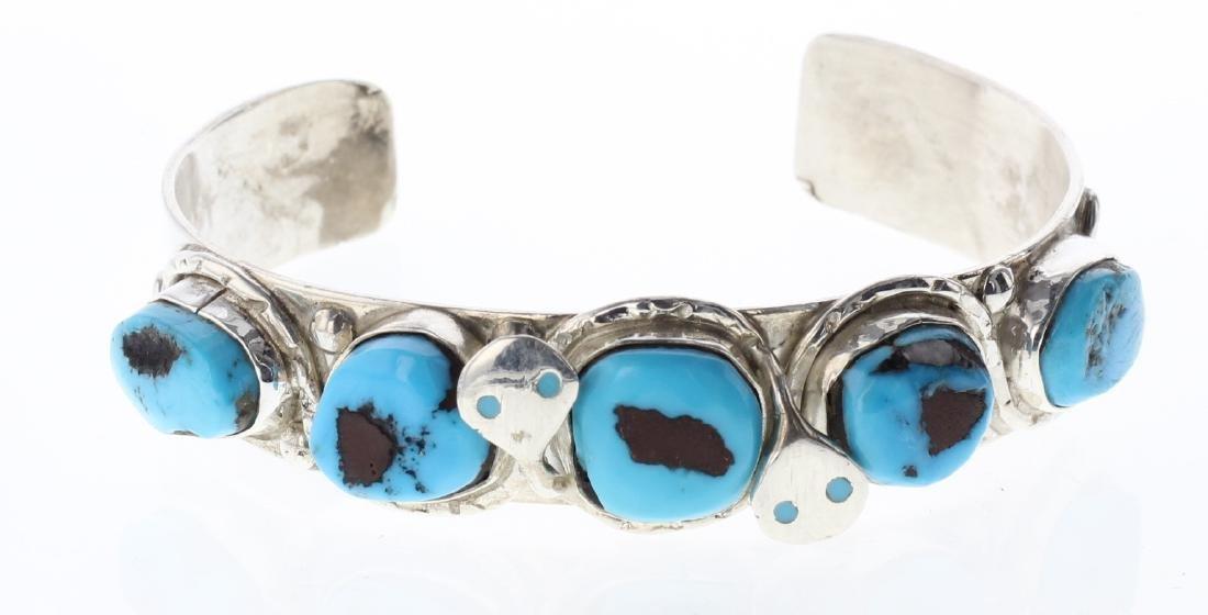 Sterling Silver Genuine Turquoise Snake Bracelet Zuni
