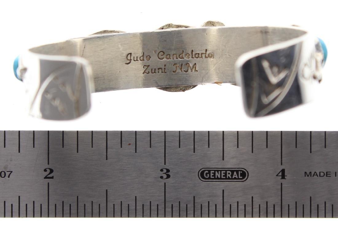 Sterling Silver Genuine Turquoise Snake Bracelet Zuni - 2