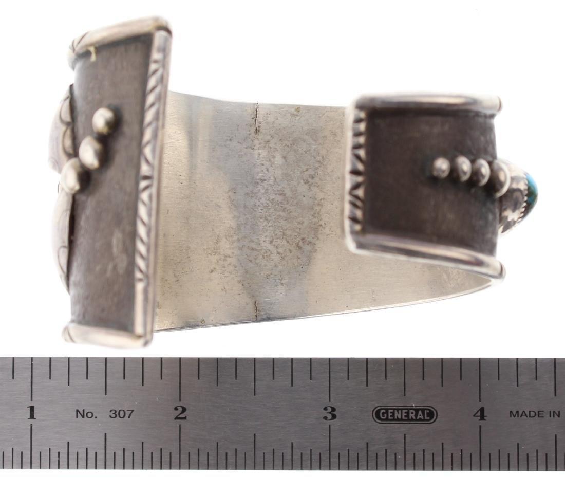 Sterling Silver Genuine Turquoise Vintage Bracelet - 3
