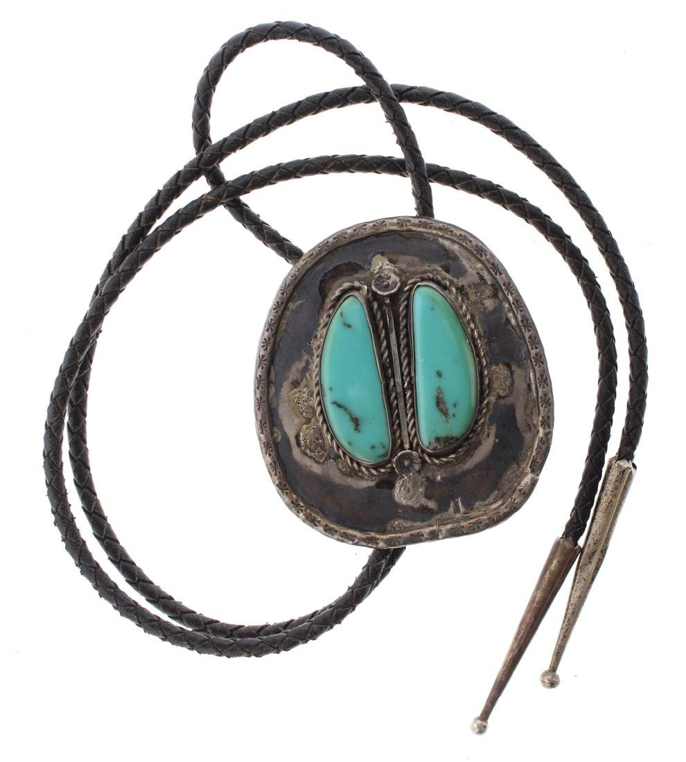 Sterling Silver Genuine Turquoise Vintage Bolo Tie