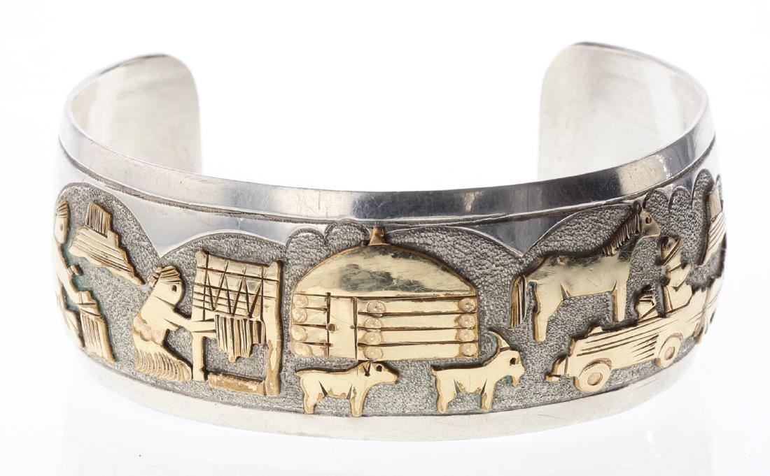 Sterling Silver Vintage Story Teller Design Bracelet