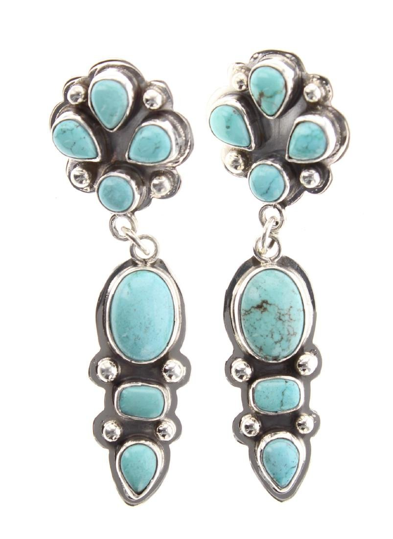Sterling Silver Genuine Carico Lake Turquoise Inlay