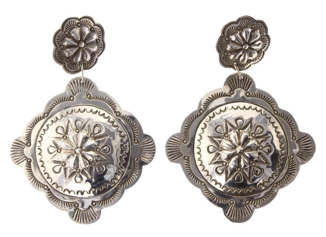 Sterling Silver Stamp Earrings Navajo Native American