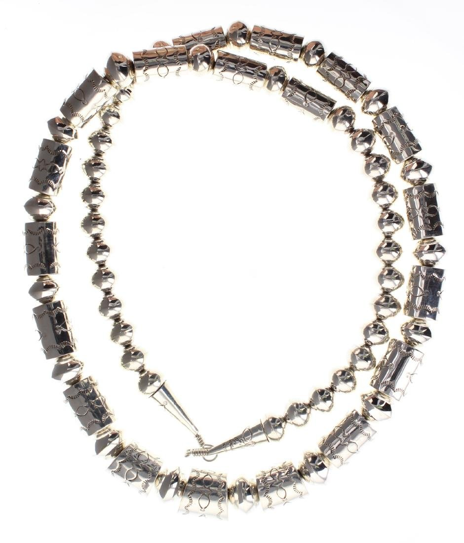 Sterling Silver Barrel Beads Necklace Navajo Native