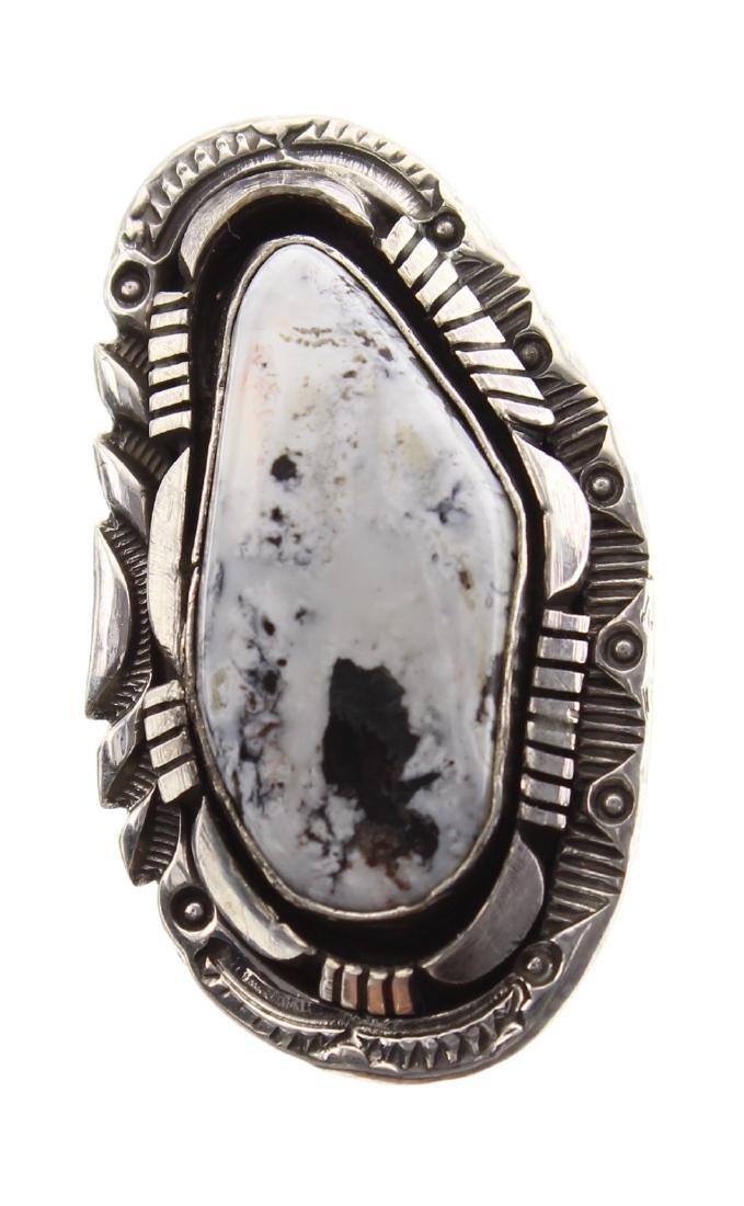 Sterling Silver Genuine White Buffalo Ring Navajo