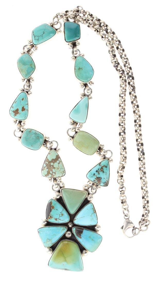 Sterling Silver Genuine Turquoise Contemporary Link