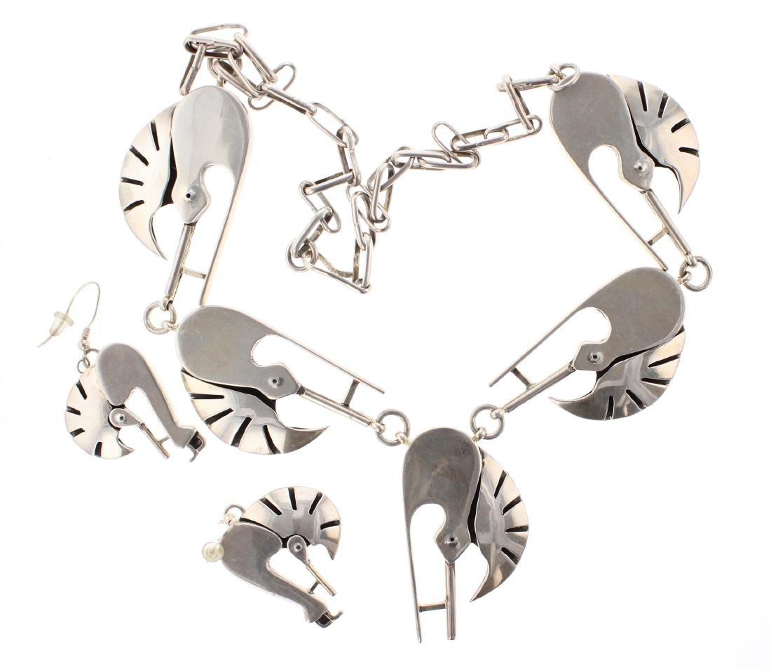Sterling Silver Kokopelli Necklace & Earrings Set