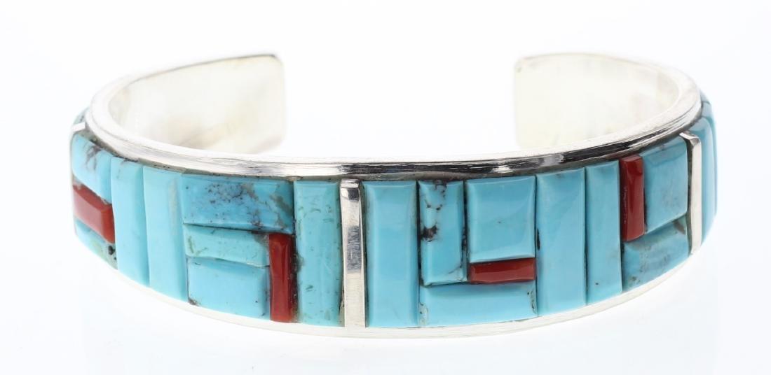 Sterling Silver Genuine Turquoise & Coral Cobblestone