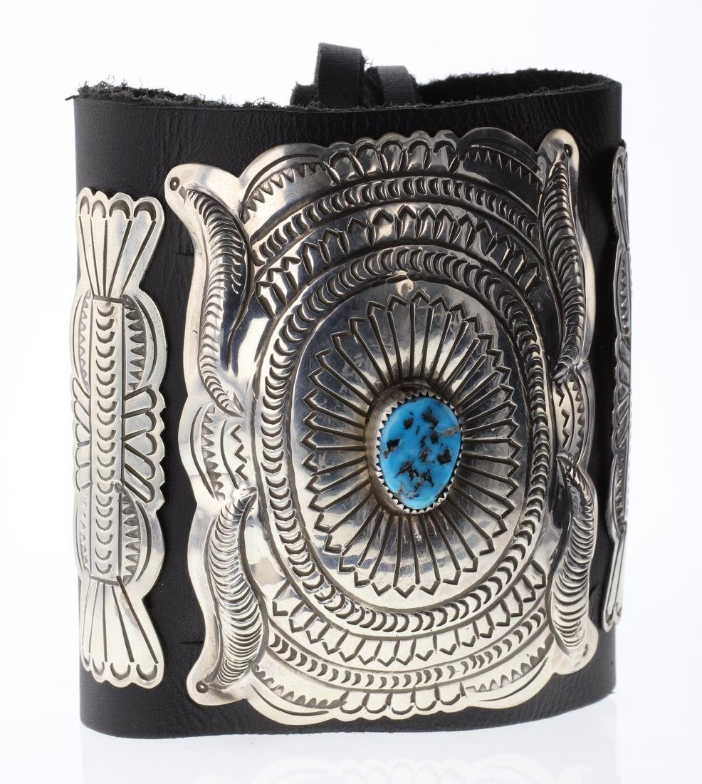 Sterling Silver Genuine Turquoise Leather Arm Band