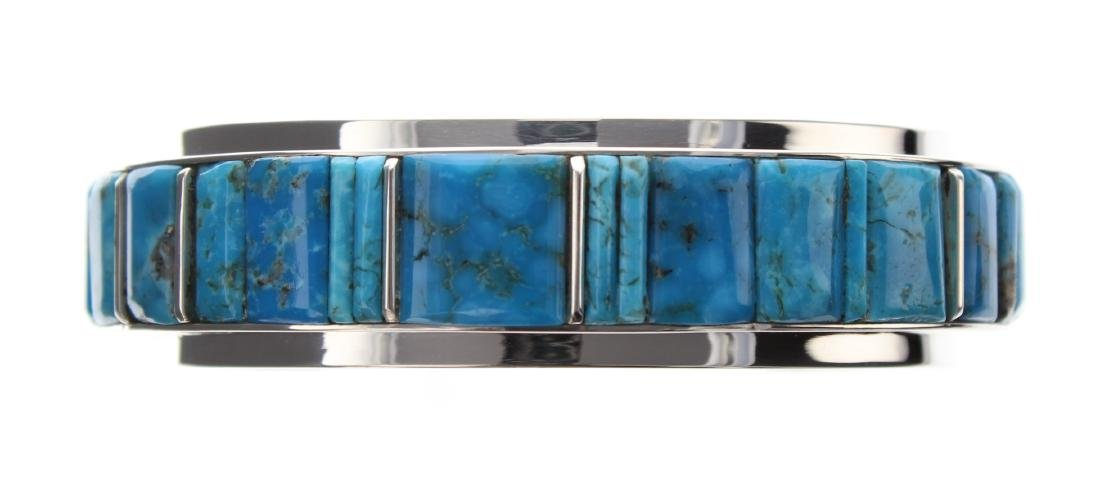 Sterling Silver Genuine Turquoise Cobblestone Inlay