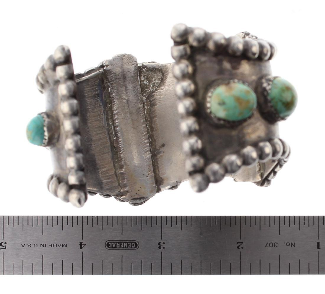 Sterling Silver Genuine Turquoise Vintage Old Pawn - 3