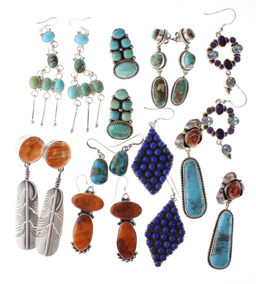 Sterling Silver Genuine Multi Stone Earrings Lot of 9