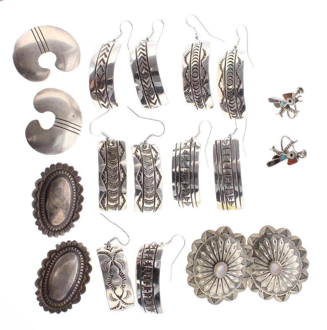 Sterling Silver Vintage Earrings Lot of 8 Navajo Native