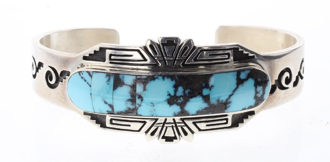 Sterling Silver Genuine Turquoise Inlay Bracelet Navajo