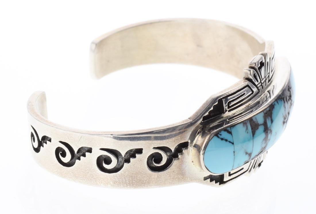 Sterling Silver Genuine Turquoise Inlay Bracelet Navajo - 2