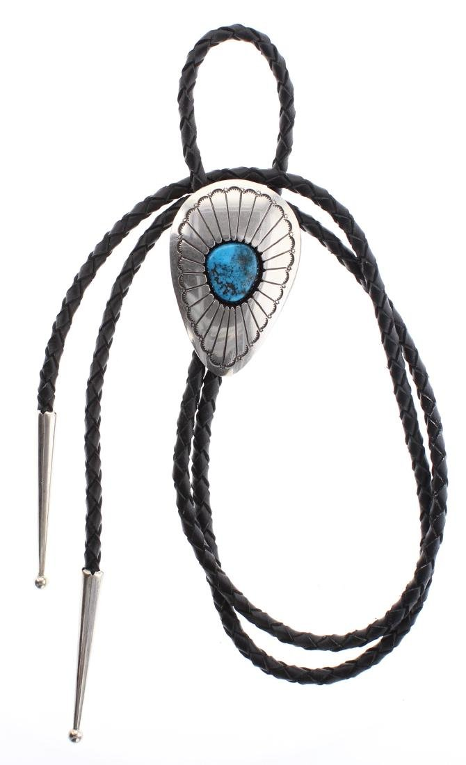 Sterling Silver Genuine Turquoise Shadow Box Bolo Tie
