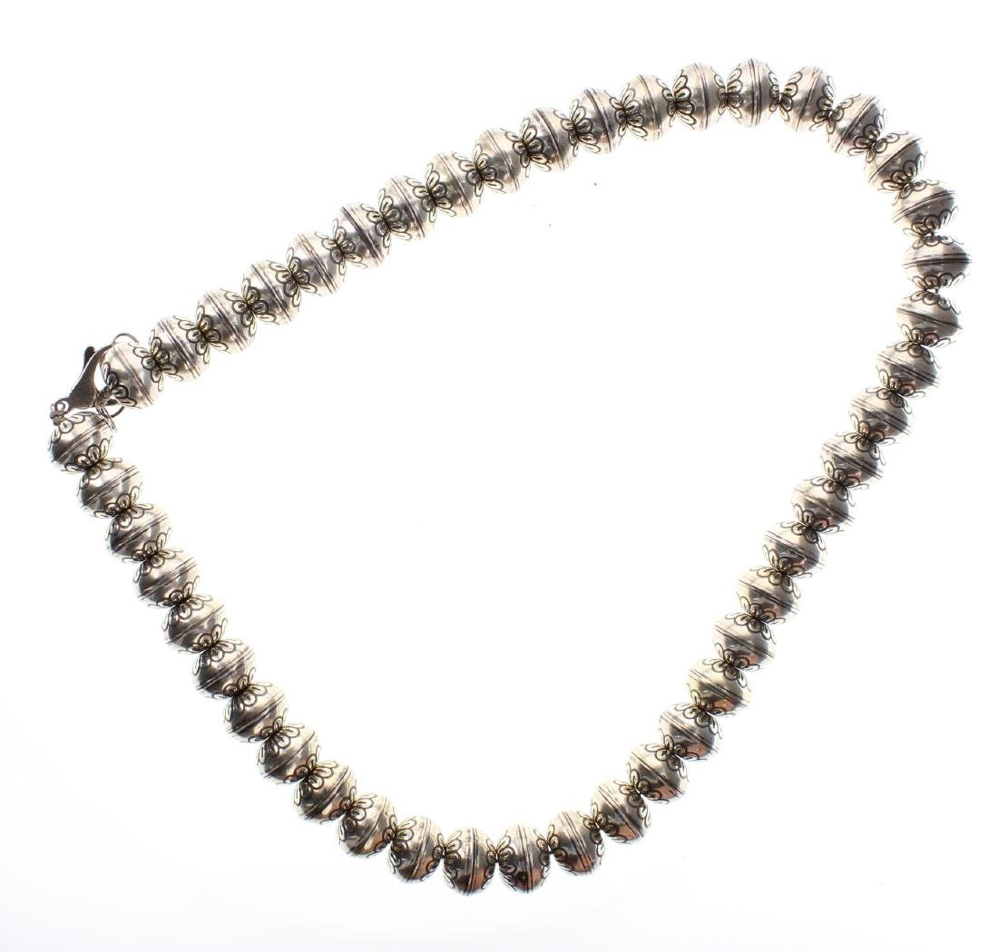 Sterling Silver Flower Beads Necklace Navajo Native