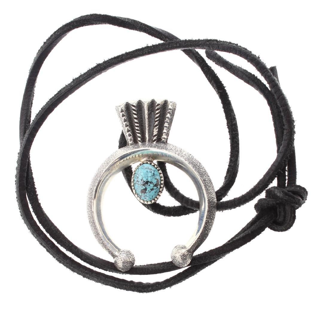 Sterling Silver Genuine Turquoise  NaJa Pendant &