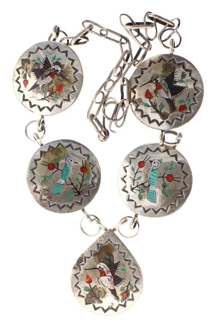 Sterling Silver Genuine Multi Stone Vintage Bird Chip