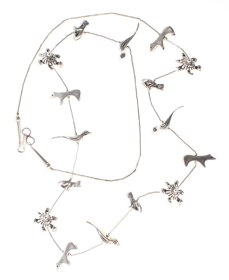 Sterling Silver Vintage Silver Fetish Necklace Navajo