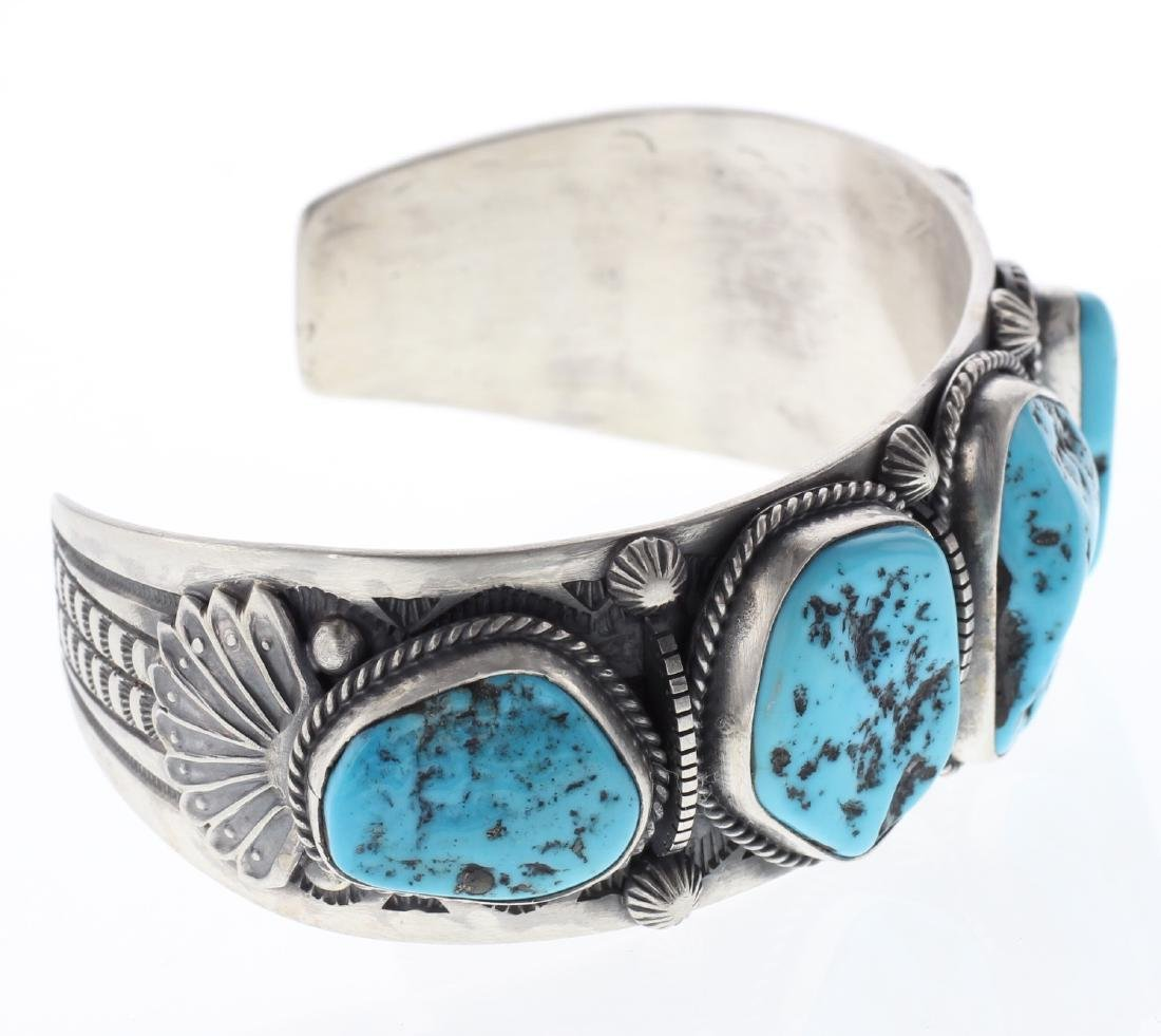 Sterling Silver Genuine Turquoise Masterpiece Bracelet - 2