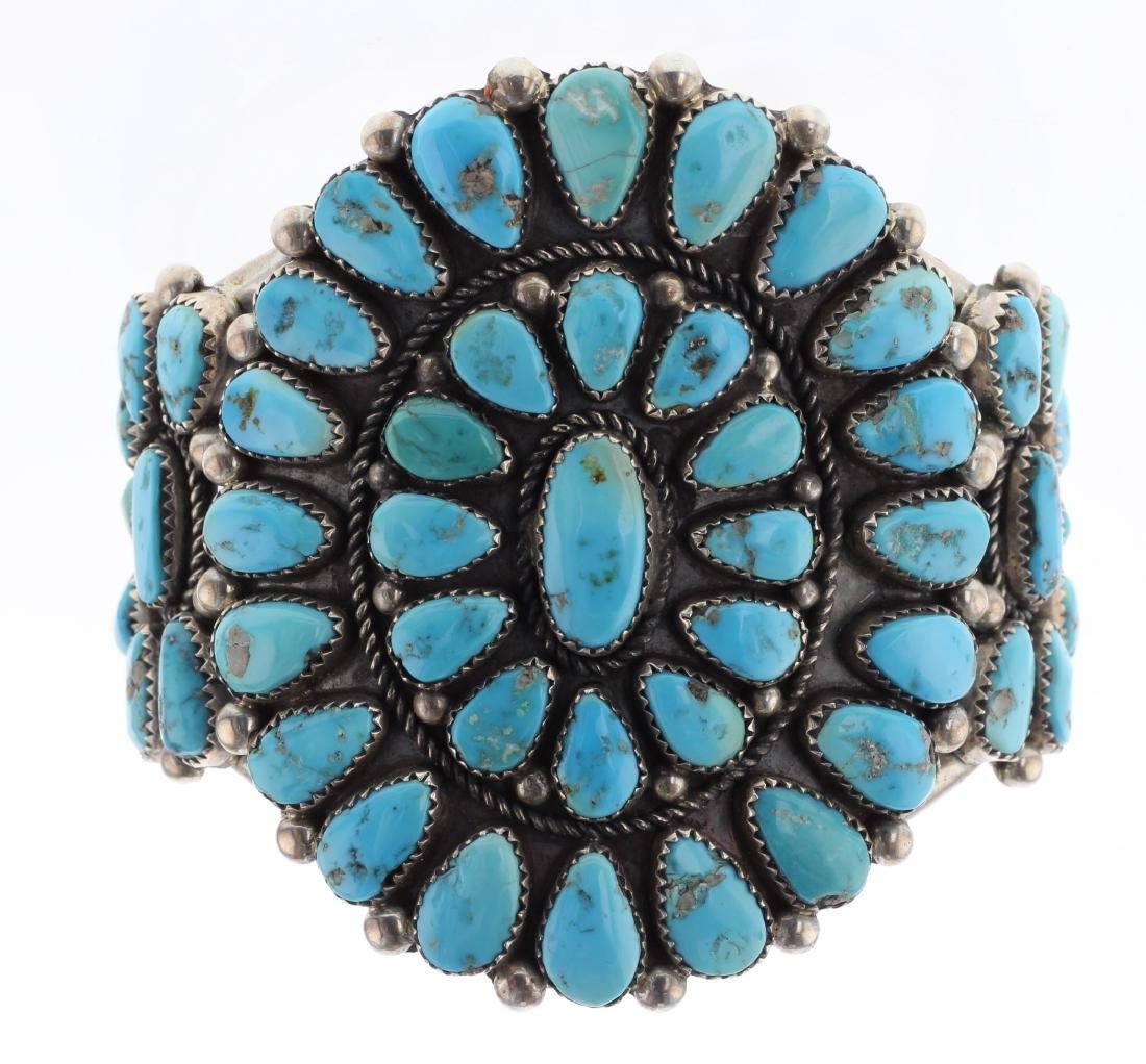 Sterling Silver Genuine Turquoise Vintage Cluster