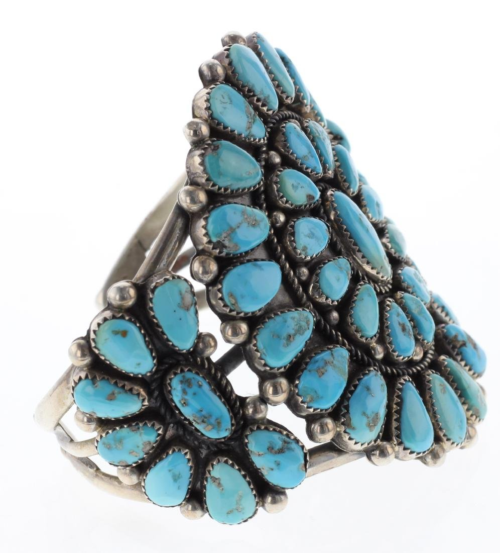 Sterling Silver Genuine Turquoise Vintage Cluster - 2