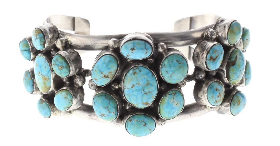 Sterling Silver Genuine Turquoise Flower Cluster
