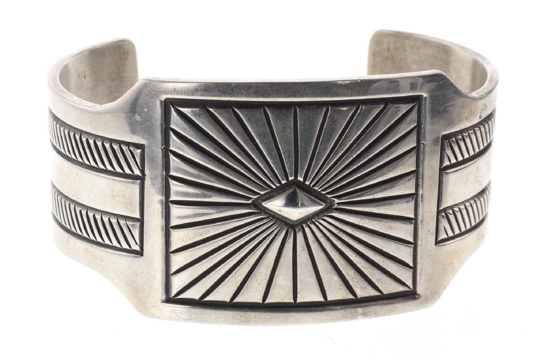 Sterling Silver Heavy Stamp Masterpiece Bracelet Navajo