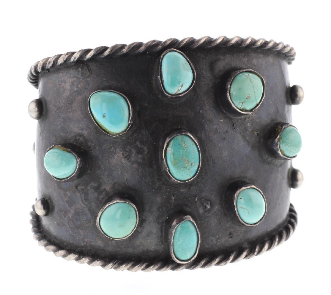 Sterling Silver Genuine Turquoise Vintage Bracelet