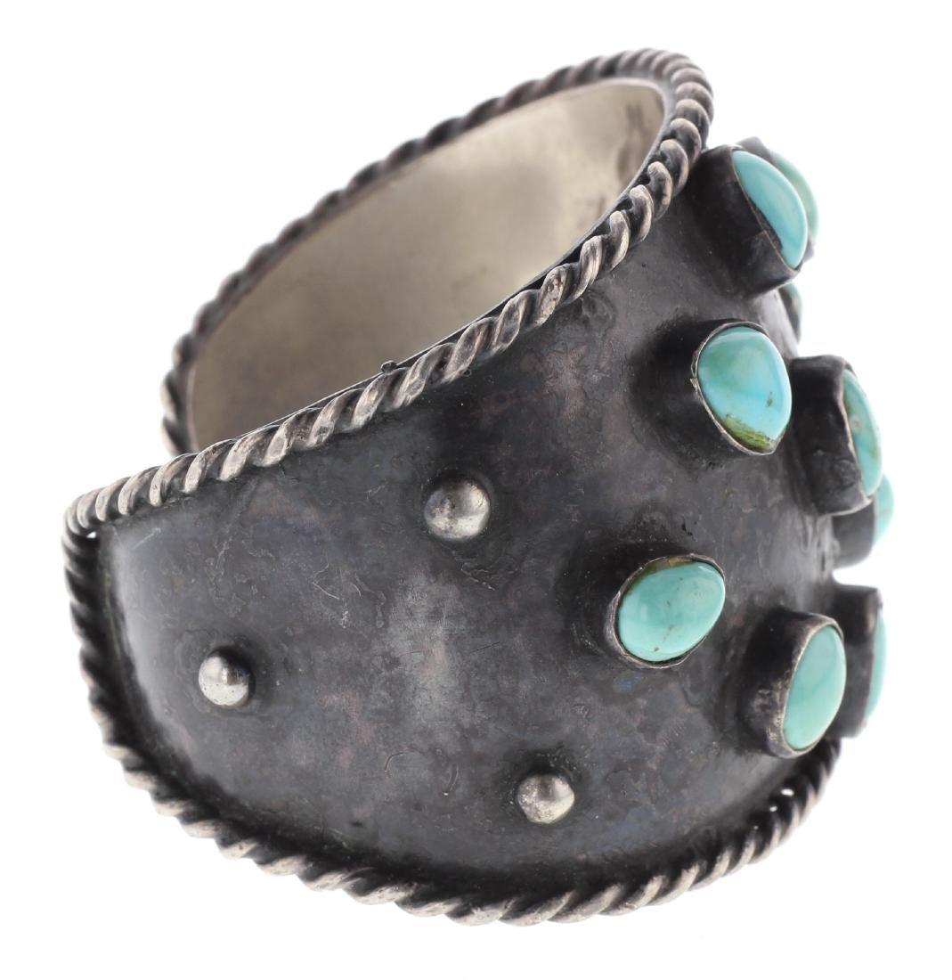 Sterling Silver Genuine Turquoise Vintage Bracelet - 2