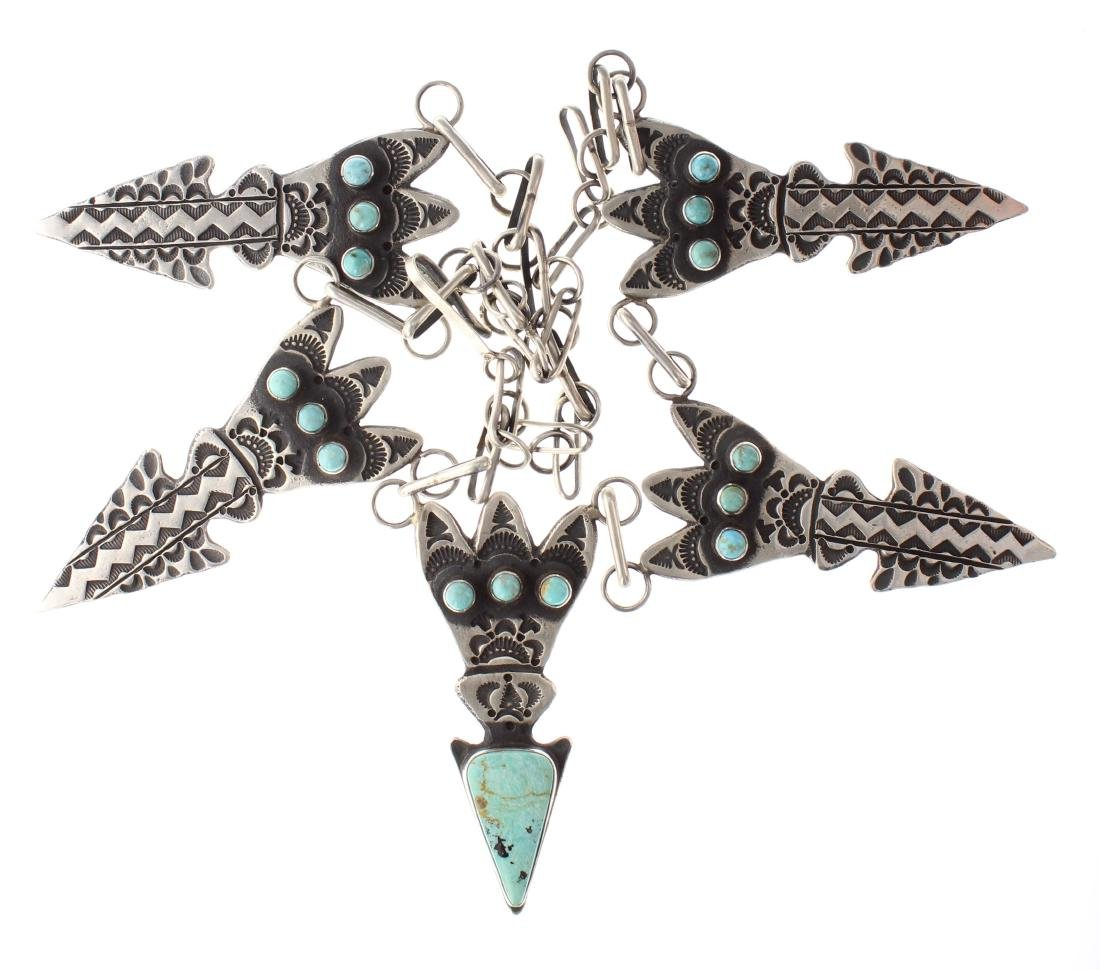 Sterling Silver Genuine Turquoise Arrow Head Link