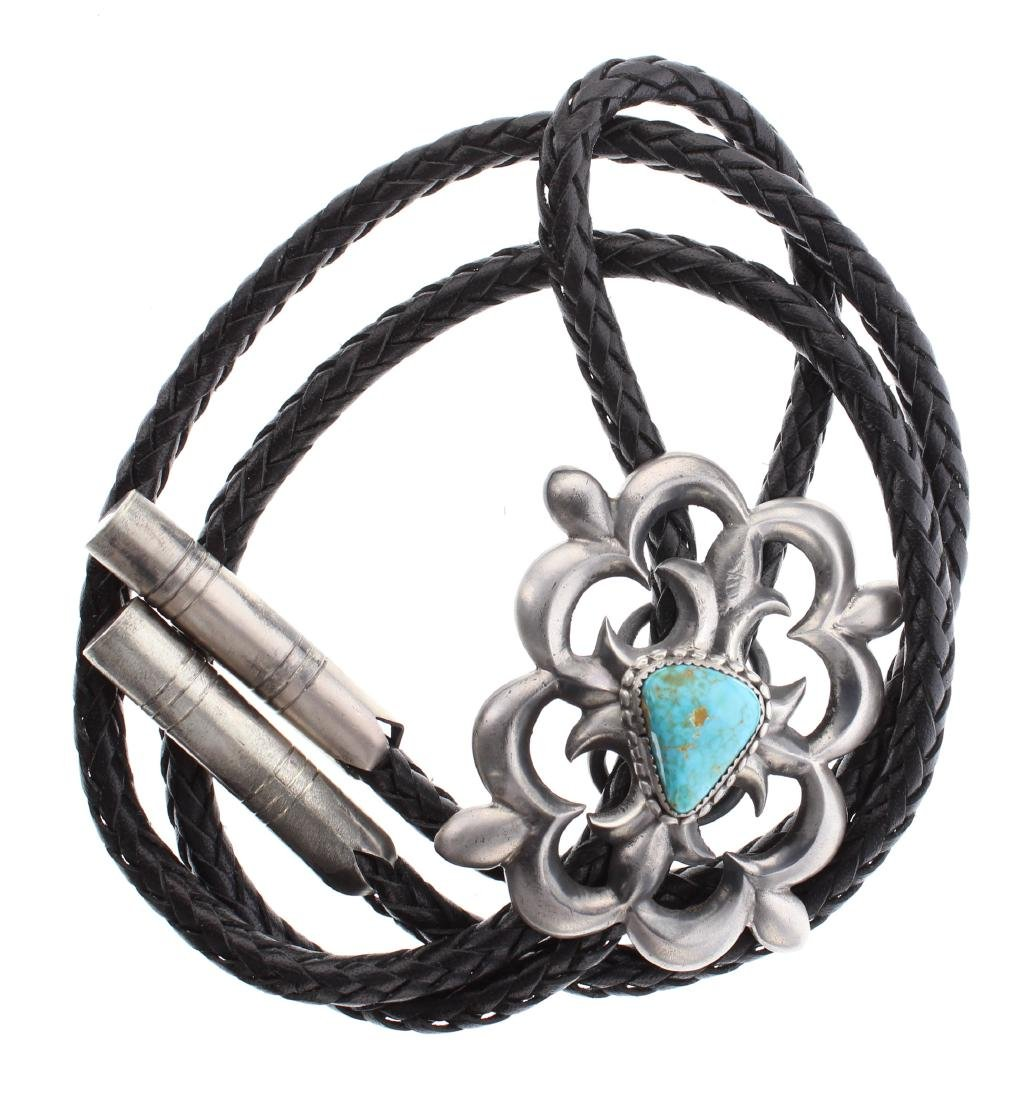 Sterling Silver Genuine Turquoise Sand Cast Bolo Tie
