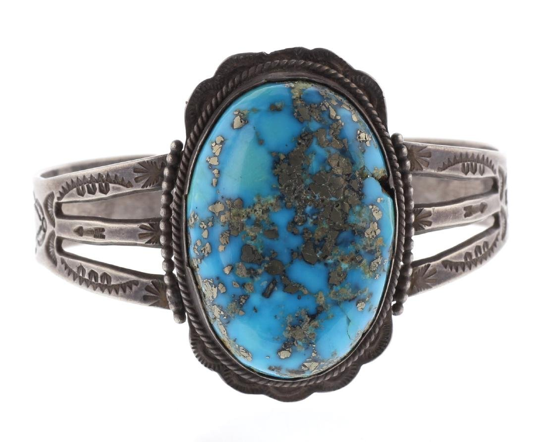 Sterling Silver Genuine Turquoise Vintage Old Pawn Fred