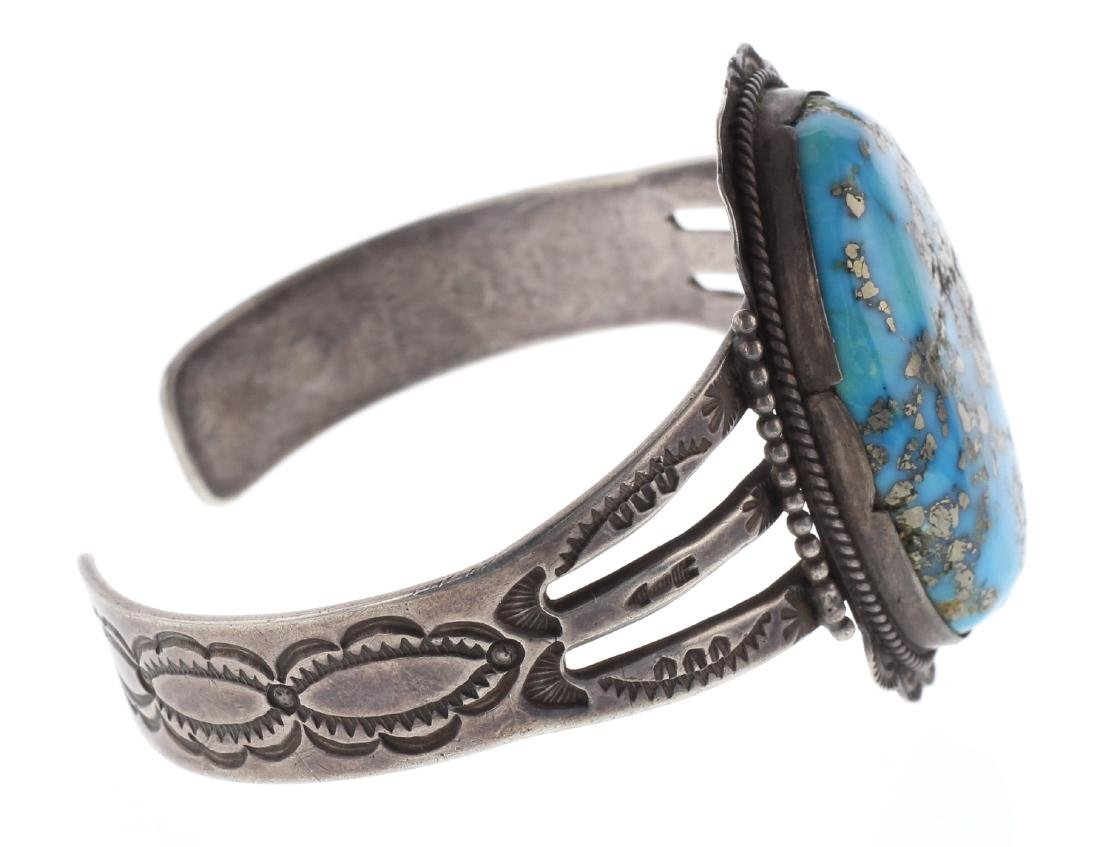 Sterling Silver Genuine Turquoise Vintage Old Pawn Fred - 2