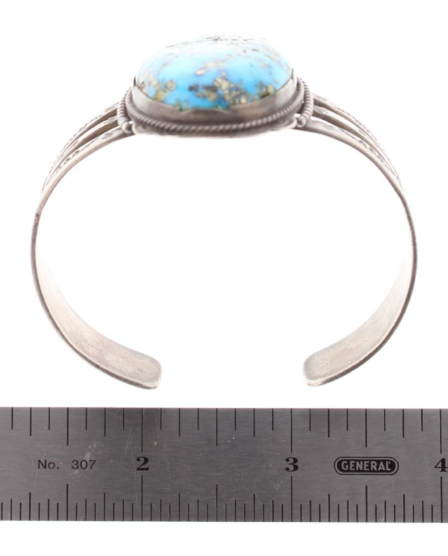 Sterling Silver Genuine Turquoise Vintage Old Pawn Fred - 3