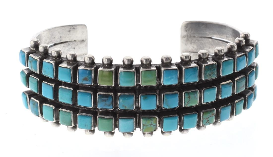 Sterling Silver Genuine Turquoise 3 Row 45 Stone