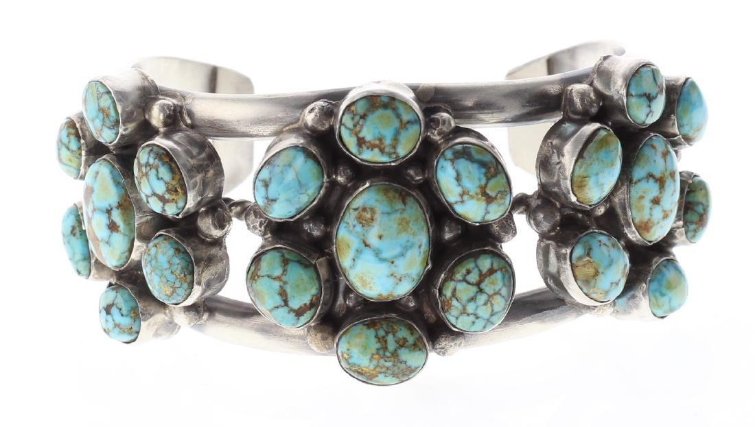 Sterling Silver Genuine Turquoise Cluster Bracelet
