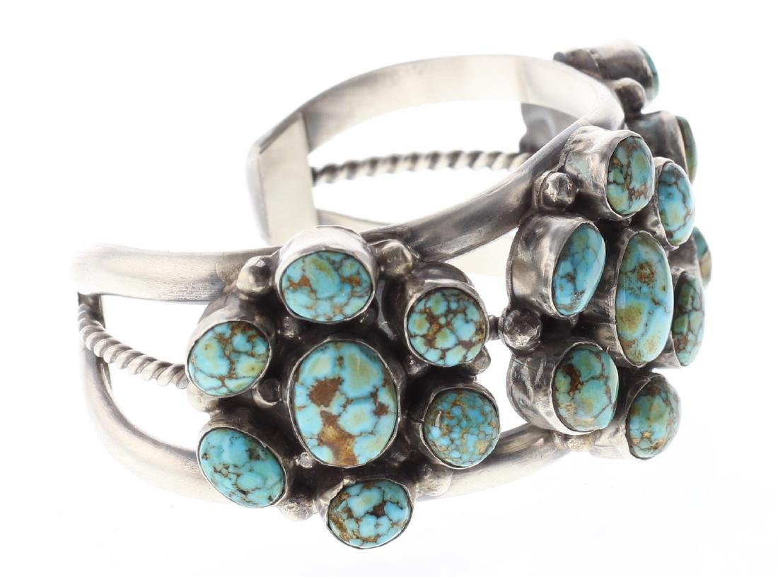 Sterling Silver Genuine Turquoise Cluster Bracelet - 2