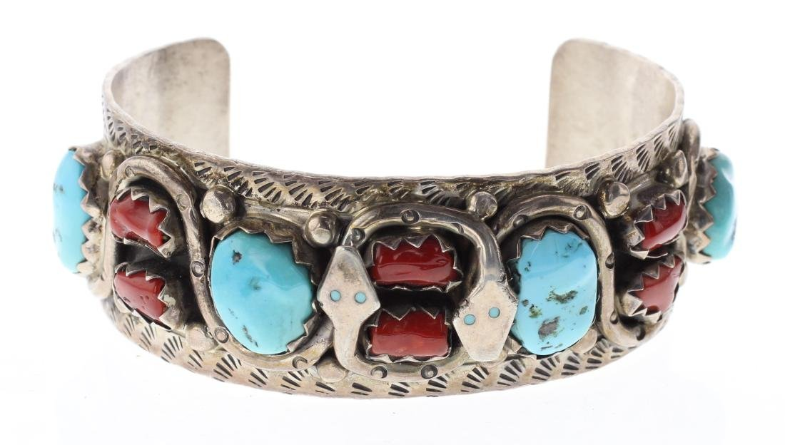 Sterling Silver Genuine Turquoise & Coral Vintage Snake