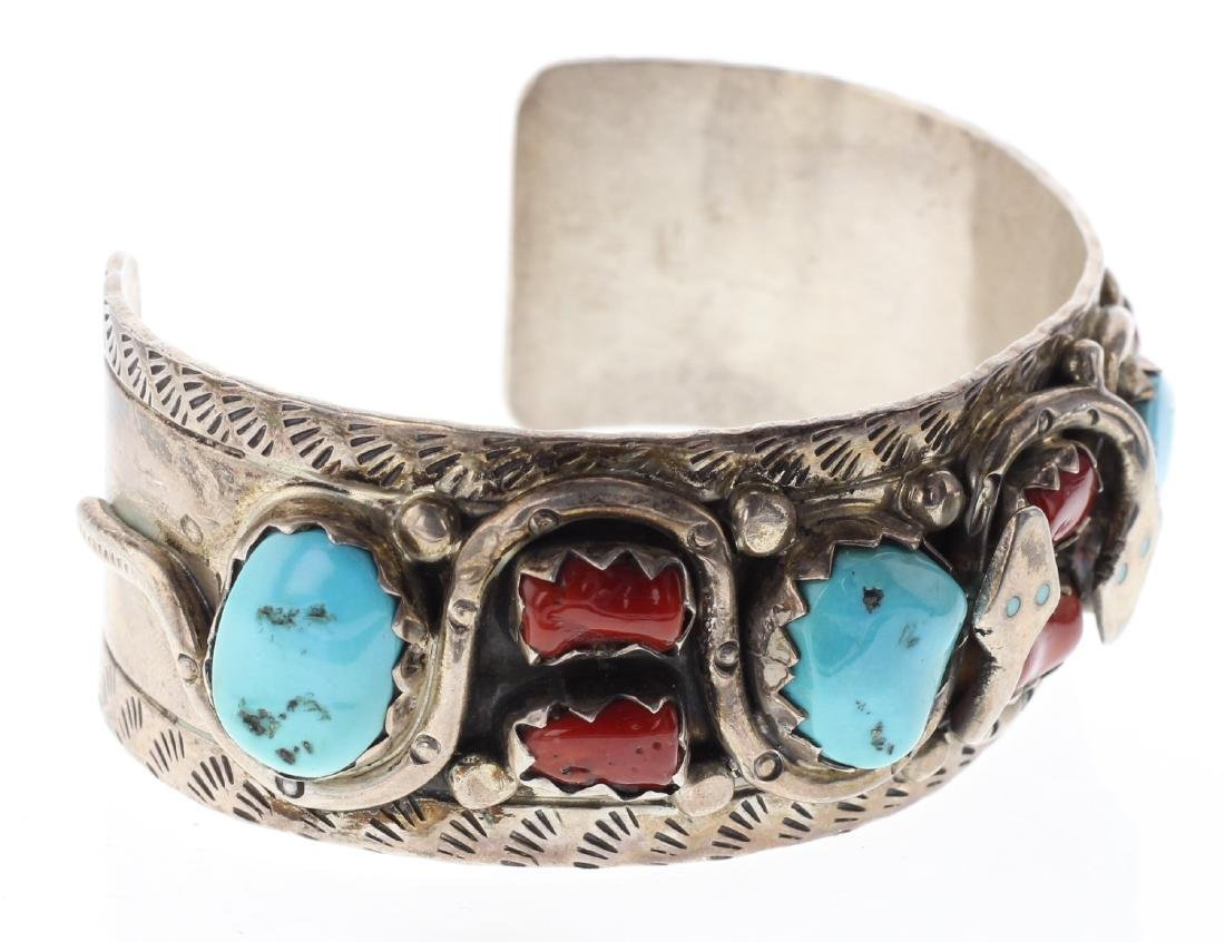 Sterling Silver Genuine Turquoise & Coral Vintage Snake - 2