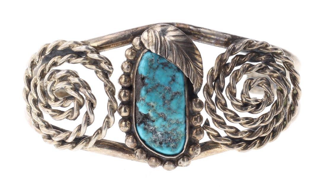 Vintage Turquoise Twist Wire Bracelet