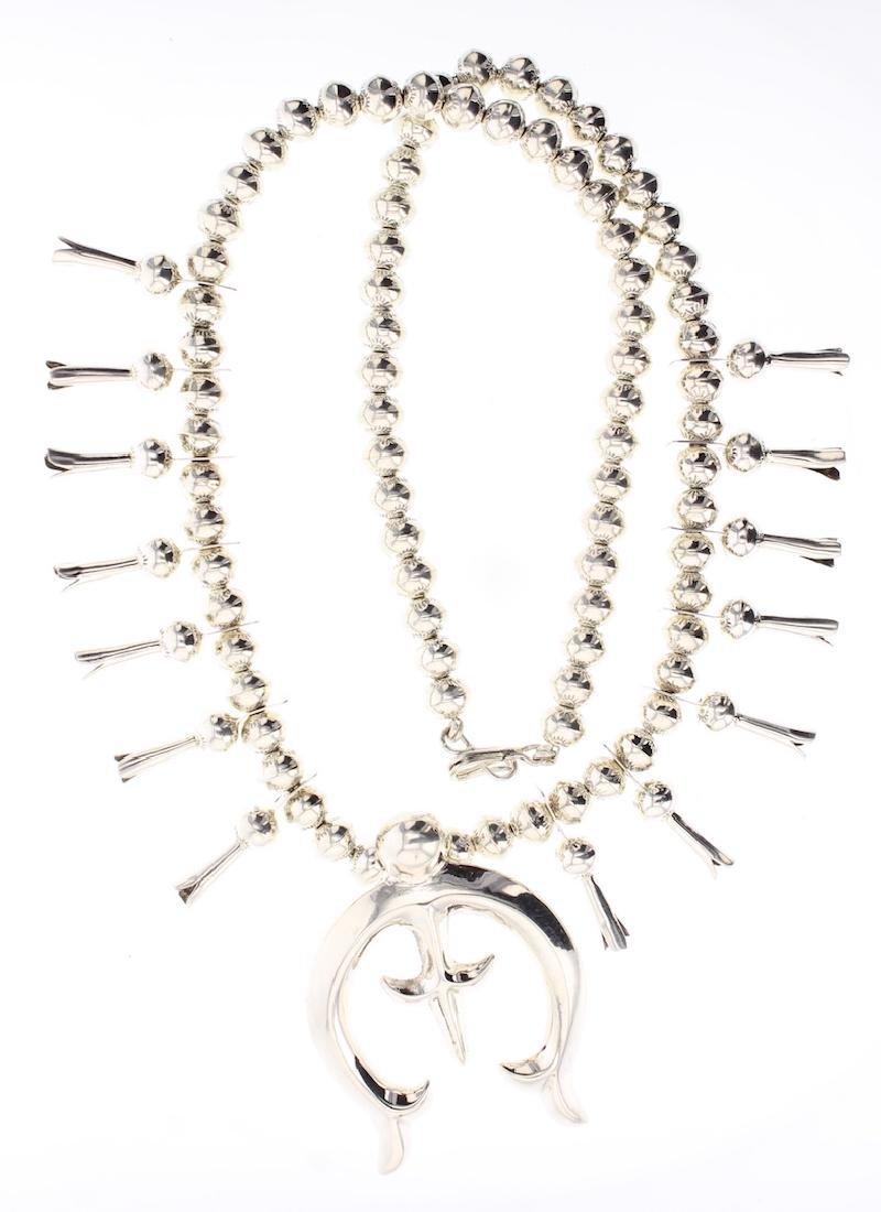 Contemporary High Shine Beads Squash Blossom Necklace