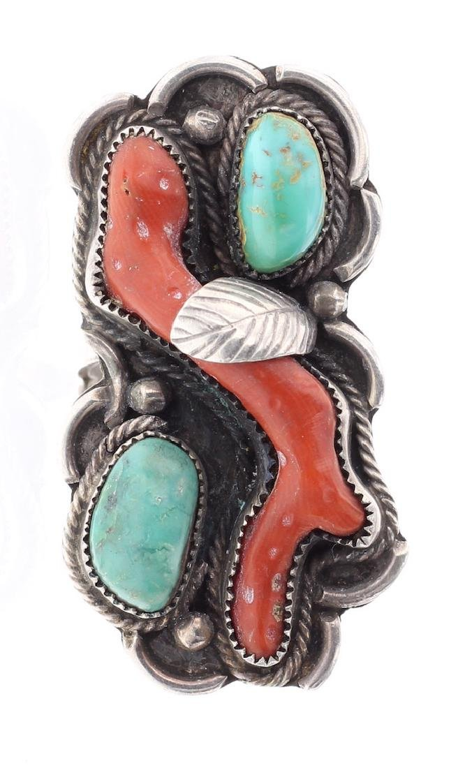 Vintage Old Pawn Turquoise & Coral Leaf Ring
