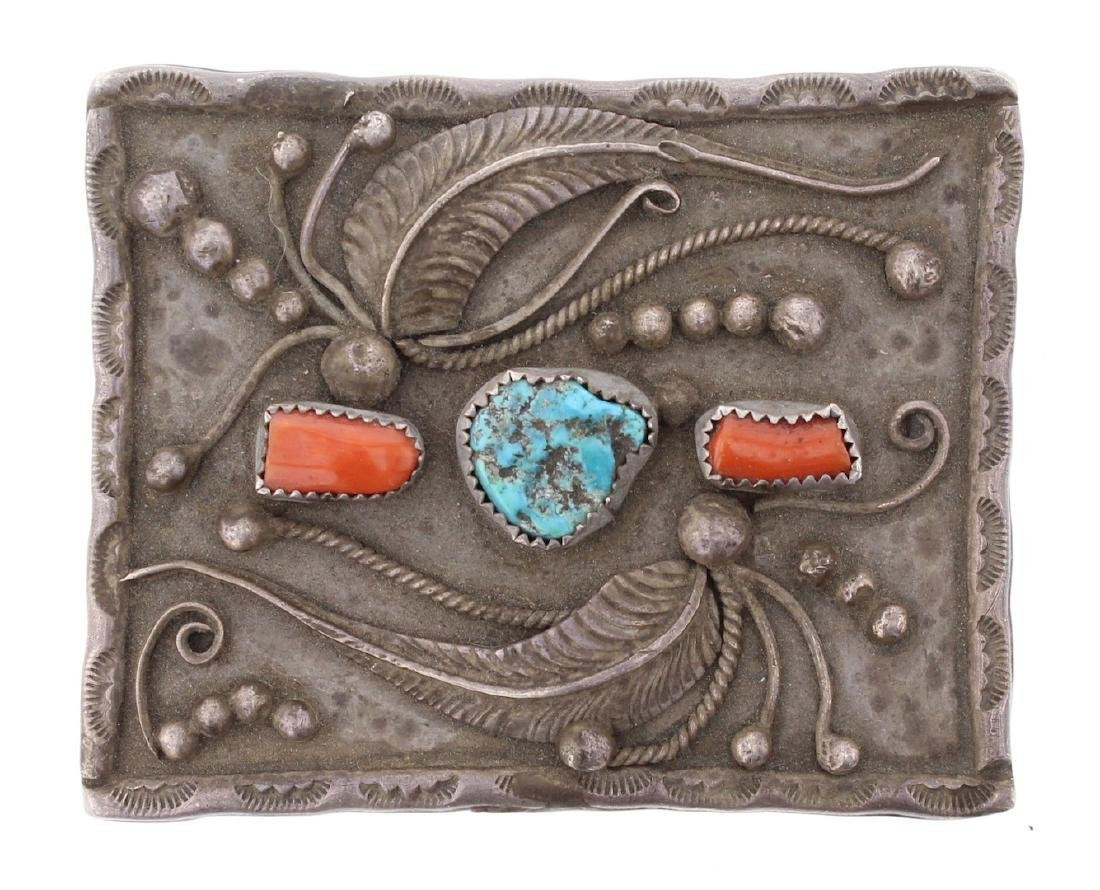Vintage Old Pawn Turquoise & Coral Belt Buckle