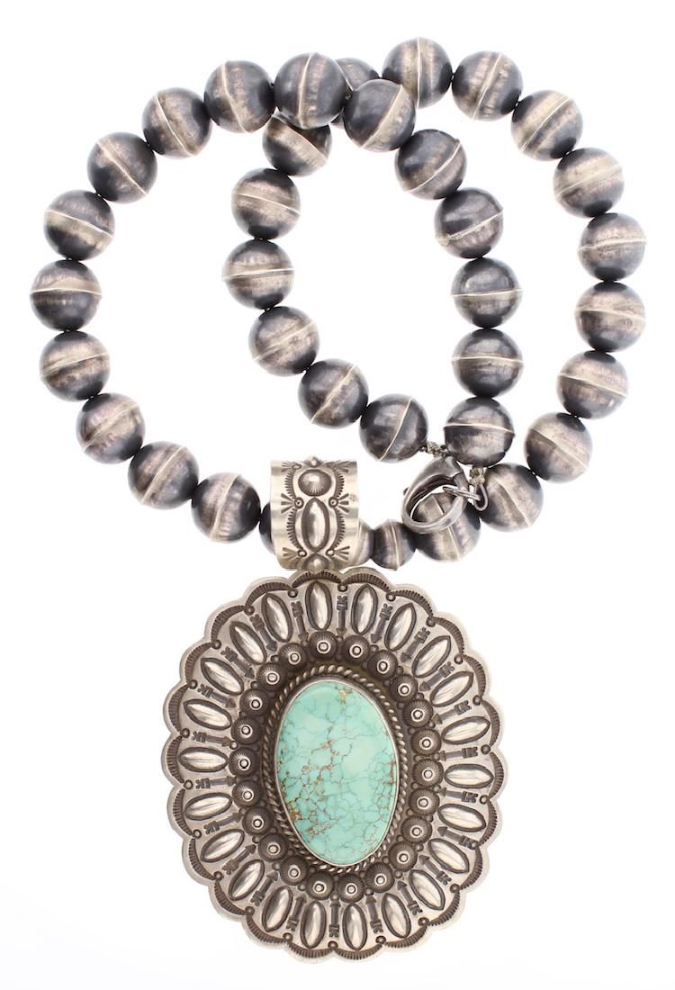 Contemporary Turquoise Pendant Large Bench Bead