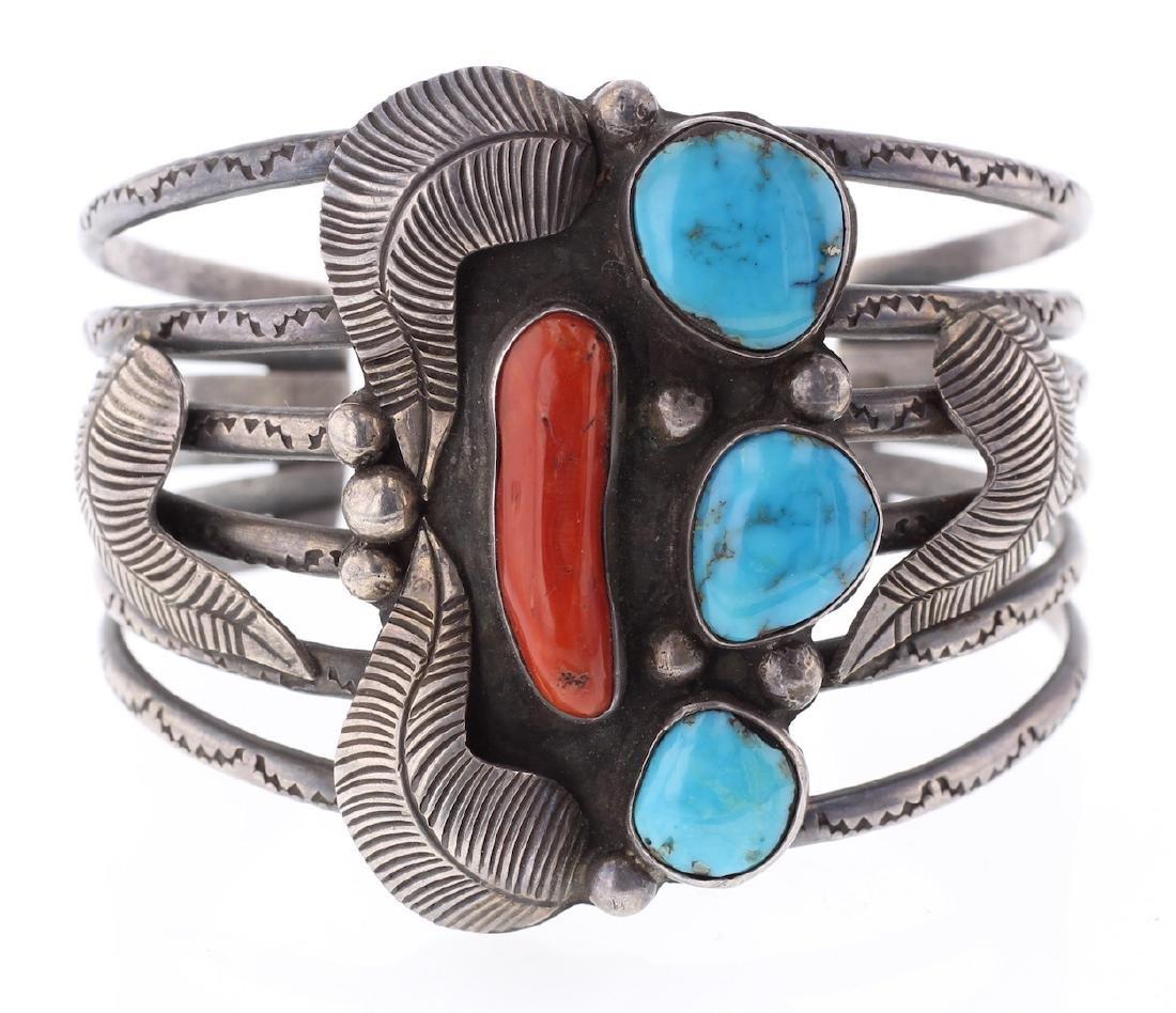 Vintage Old Pawn Turquoise & Coral Leaf Bracelet Navajo