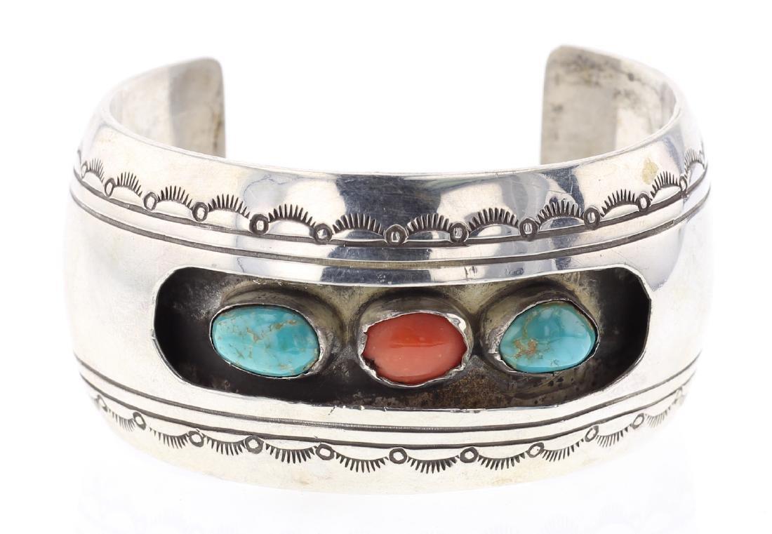 Vintage Turquoise & Coral Shadow Box Bracelet